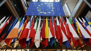 Différents drapeaux des membres de l'Union européenne au Parlement européen à Strasbourg, le 19 octobre 2021. (RONALD WITTEK / AFP)