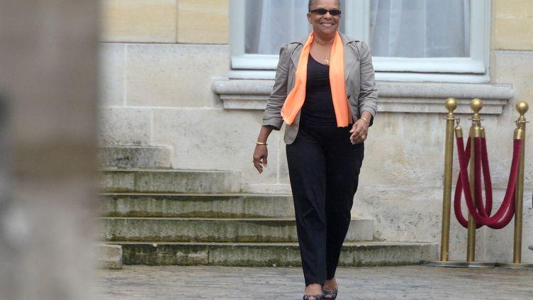 Christiane Taubira sort de l'hôtel Matignon (Paris), le 25 août 2014. (DOMINIQUE FAGET / AFP)