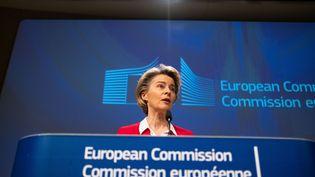 La présidente de la Commission européenneUrsula von der Leyen à Bruxelles, le 8 janvier 2021. (MARTIN BERTRAND / AFP)