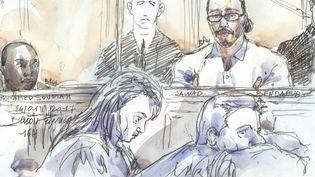 Un dessin représente Jawad Bendaoud, le 24 janvier 2018, le premier jour de son procès à Paris. (BENOIT PEYRUCQ / AFP)