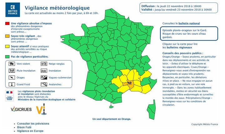 """Météo France a placé le Gard en vigilance orange pour """"pluie-inondation"""" et """"orages"""", jeudi 22 novembre 2018. (METEOFRANCE)"""