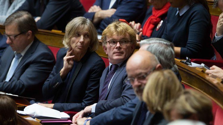 Marielle de Sarnez et Marc Fesneau dans l'hémicycle de l'Assemblée nationale, le 29 novembre 2017. (NICOLAS KOVARIK / MAXPPP)