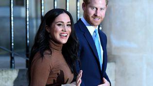 La duchesse de Sussex Meghan et le prince Harry, mardi 7 janvier 2020 à Londres (Royaume-Uni). (DANIEL LEAL-OLIVAS / AFP)