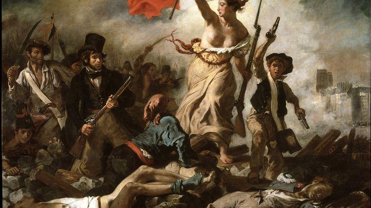 """Le tableau """"La Liberté guidant le peuple"""", d'Eugène Delacroix. (LUISA RICCIARINI / LEEMAGE / AFP)"""