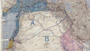 Carte des accords Sykes-Picot (archives britanniques) (AFP)