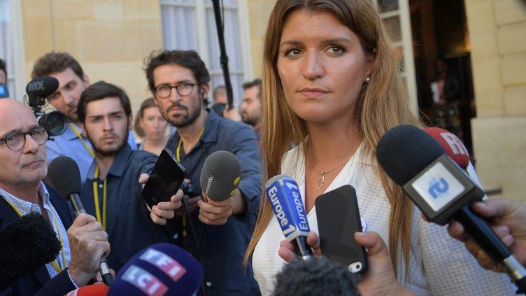 Marlène Schiappa répond aux questions de journalistes, le 3 septembre 2019, àParis. (ERIC FEFERBERG / AFP)