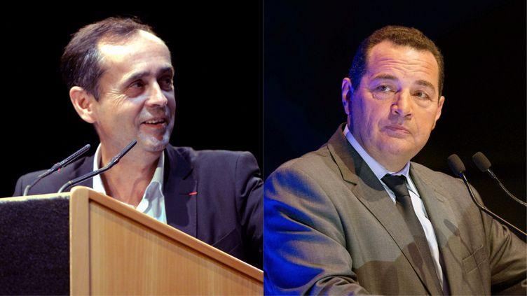 Robert Ménard à Béziers (à gauche), en mai, et Jean-Frédéric Poisson (à droite) à Paris, en17 octobre. (MAXPPP)