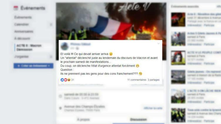 """Un message Facebook sur le groupe """"Acte 5 : Macron démission"""" met en doute l'origine terroriste (pas encore confirmée par les forces de l'ordre) de l'attaque qui a eu lieu mardi 11 décembre 2018 à Strasbourg. (FACEBOOK)"""