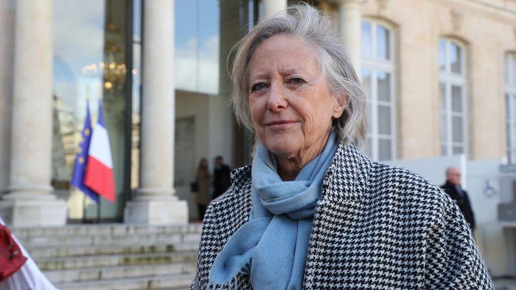 La secrétaire d'Etat chargée des Personnes handicapées, Sophie Cluzel, le 11 février 2020 à la sortie de l'Elysée, à Paris. (LUDOVIC MARIN / AFP)