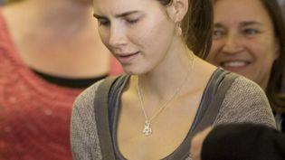 Amanda Knox lors d'une conférence de presse à son retour à Seattle (Etats-Unis), le 4 octobre 2011. (KEVIN CASEY / AFP)
