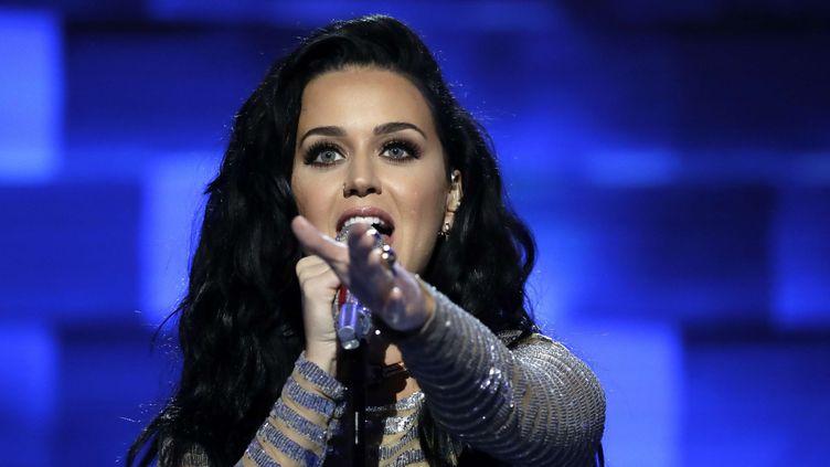 Katy Perry chante à la Convention Démocrate le 28 Juillet 2016.  (Matt Rourke/AP/SIPA)