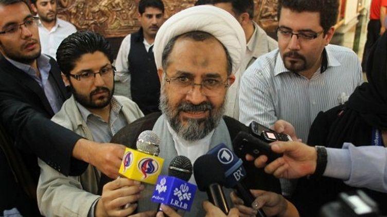 """Le ministre des Renseignements Heydar Moslehi juge que les accusations sont une """"comédie"""". (A Téhéran, le 21 mai 2011) (AFP PHOTO/ATTA KENARE)"""