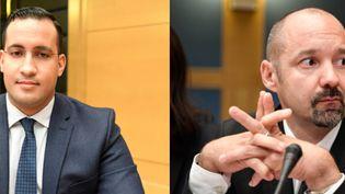 A gauche, Alexandre Benalla, à droite, Vincent Crase, lors de leurs auditions devant la commission d'enquête du Sénat, le 21 janvier 2019. (AFP)