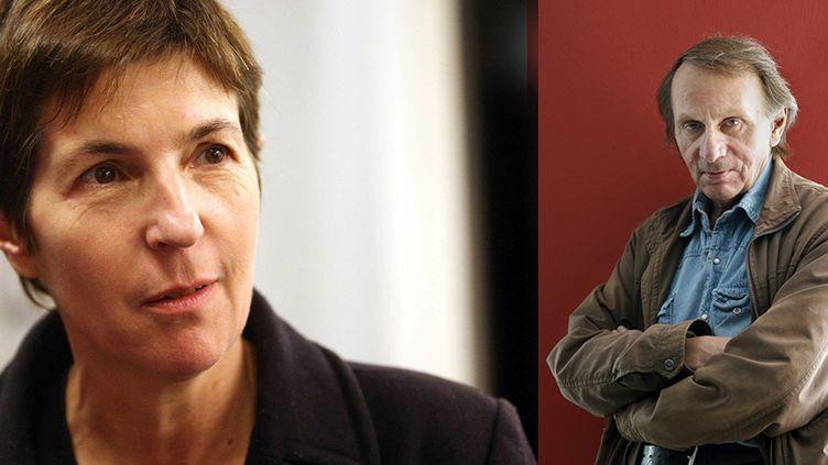 """Christine Angot et Michel Houellebecq sont invités de l'émission """"On n'est pas couché"""", samedi 29 août 2015  (MAXPPP et SIPA)"""