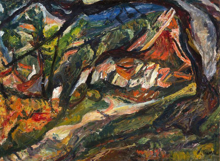 """Chaïm Soutine(1893-1943) """"Paysage avec maison et arbre"""",1920-21 (Philadelphia (PA), The Barnes Foundation)"""