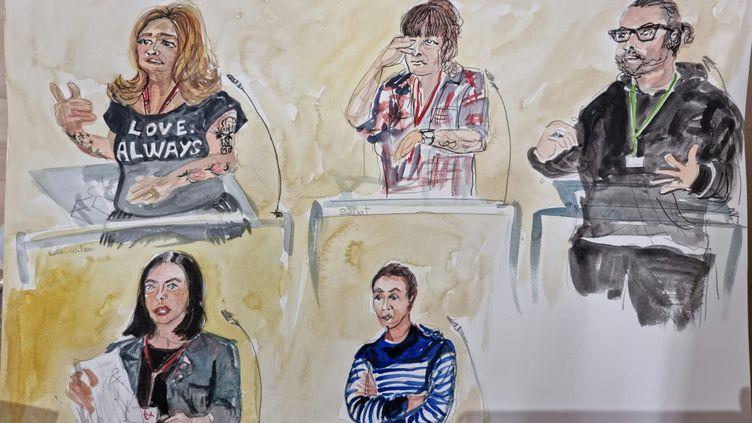 Des survivants du Bataclan témoignent au procès des attentats du 13-Novembre, le 6 octobre 2021 à Paris. (ELISABETH DE POURQUERY / FRANCEINFO)