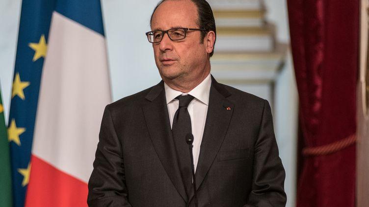 François Hollande lors d'une conférence de presse à l'Elysée, à Paris, le 5 avril 2016. (CITIZENSIDE / YANN KORBI / AFP)