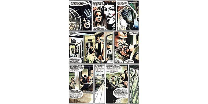"Une planche de David Lloyd, dans ""V pour Vendetta""  (Urban Comics)"