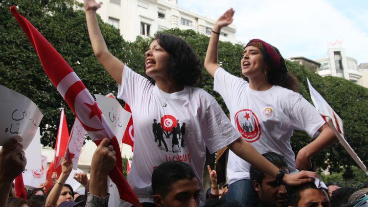 Manifestation de femmes à Tunis, le 9 mars 2013. (FETHI BELAID / AFP)