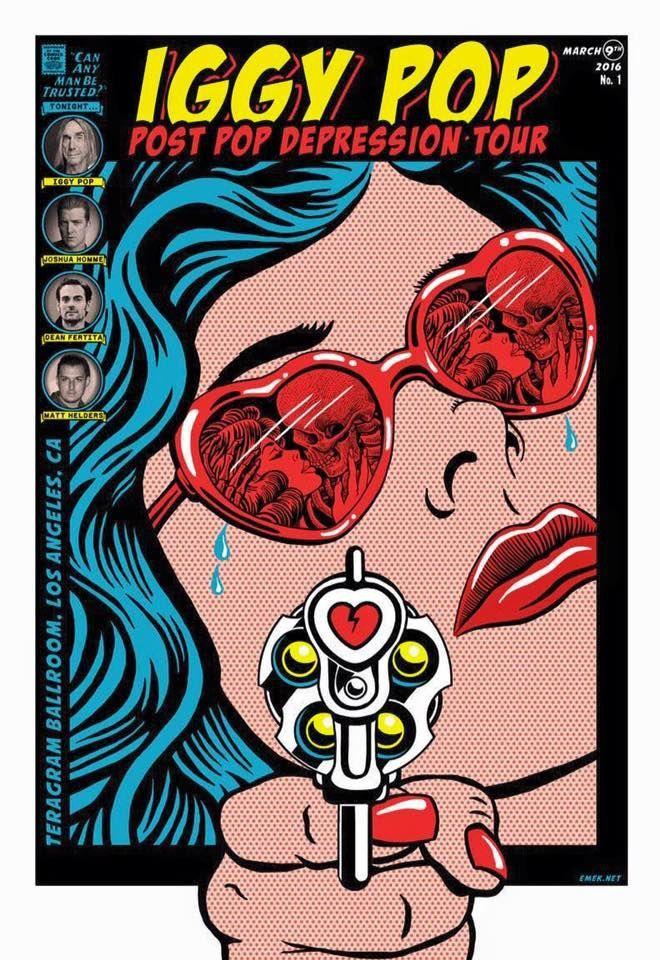 L'affiche du concert de Los Angeles du Post Pop Depression Tour d'Iggy.  (Courtesy of the French Paper Gallery Paris)