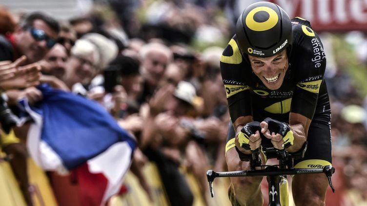 Sylvain Chavanel (Direct Energie) en pleine souffrance lors du dernier contre-la-montre de sa carrière sur le Tour de France (PHILIPPE LOPEZ / AFP)
