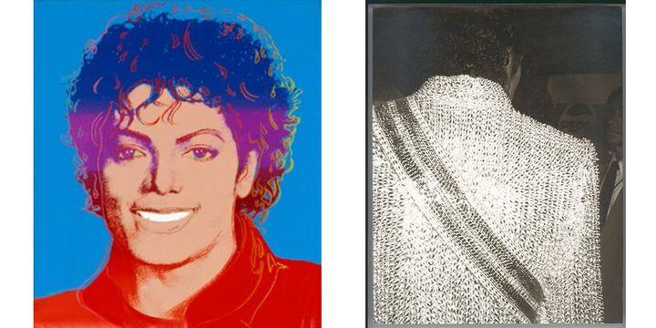 Michael Jackson par Andy Warhol, deux oeuvres prêtées par le musée Andy Warhol de Pittsburgh.A gauche peinture acrylique 1984. A droite photo argentique non datée.  (The Andy Warhol Foundation for the Visual Arts, Inc. / Licensed by ADAGP, Paris, 2018)