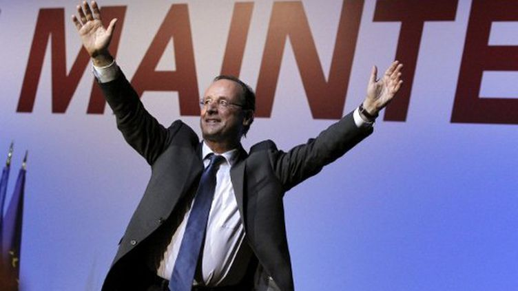 François Hollande, à Besançon, le 10 avril 2012. (PATRICK KOVARIK / AFP)