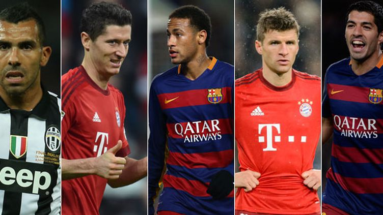 Carlos Tevez, Robert Lewandowski, Neymar, Thomas Muller et Luis Suarez sont des prétendants au podium du Ballon d'Or