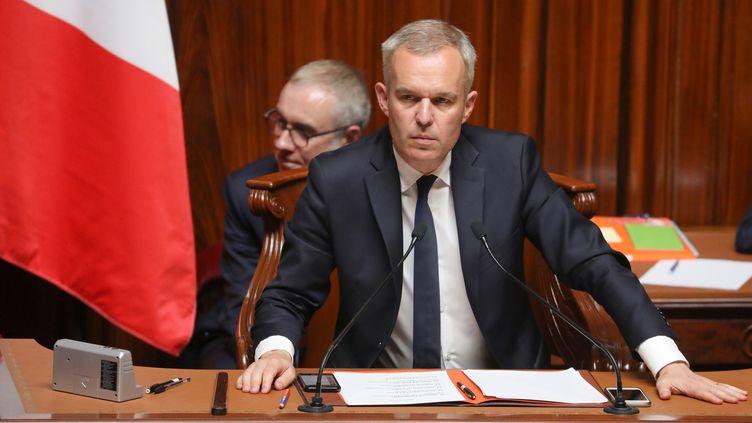 Le président de l'Assemblée nationale François de Rugy, devant les parlementaires réunis en Congrès à Versailles, le 9 juillet 2018. (LUDOVIC MARIN / AFP)