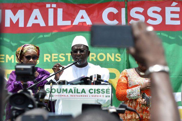 Le leader de l'opposition malienne, Soumaïla Cissé, à Bamako le 3 août 2018 (ISSOUF SANOGO / AFP)