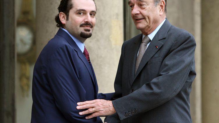Jacques Chirac, alors président de la République, avec Saad Hariri, actuel Premier ministre du Liban, le 2 mars 2007 à l'Elysée, à Paris. (PATRICK KOVARIK / AFP)