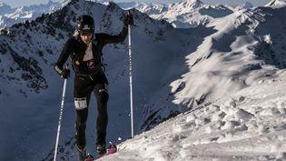 L'Espagnol Kilian Jornet, lors d'une compétition d'alpinisme, en Savoie, le 10 mars 2017. (JEFF PACHOUD / AFP)