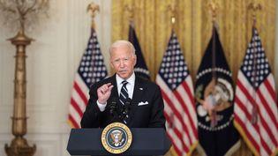 Joe Biden lors d'un discours à la Maison Blanche, le 18 août 2021, à Washington. (Anna Moneymaker / GETTY IMAGES NORTH AMERICA / AFP)