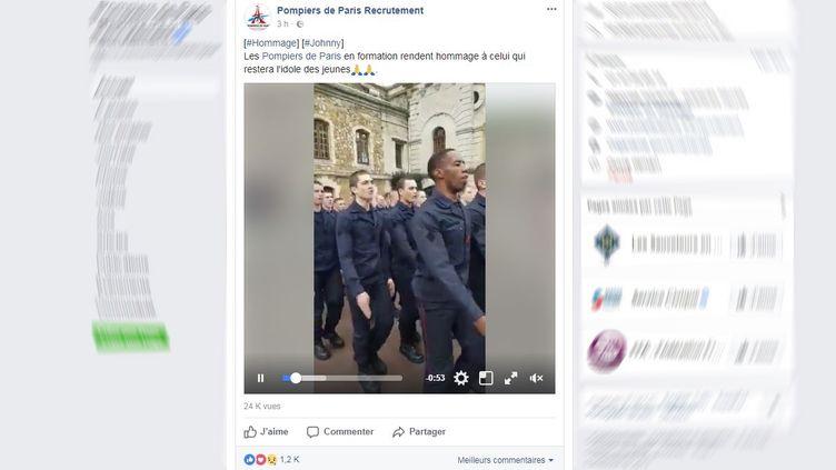 Capture d'écran de la page Facebook des Pompiers de Paris, le 6 décembre 2017. (POMPIERS DE PARIS / FACEBOOK.COM)