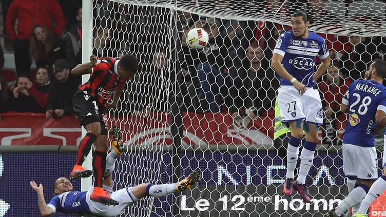 Plea ouvre le score face à Bastia. (VALERY HACHE / AFP)