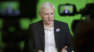 Julian Assange durant sa vidéoconférence depuis l'ambassade de l'Equateur à Londres (23/01/2013)  (Philip Toscano / AP / Sipa)