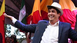 Le nouveau président du Costa Rica, Carlos Alvarado, le 24 mars 2018 à San José, la capitale du pays. (EZEQUIEL BECERRA / AFP)
