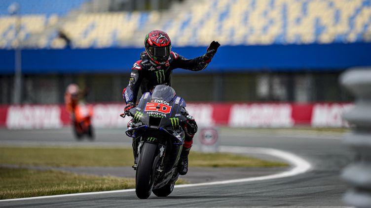 Fabio Quartararo (Yamaha) sur le circuit d'Assen le 25 juin 2021. (GIGI SOLDANO / DPPI via AFP)