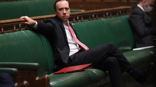 L'ancien ministre de la Santé britannique, Matt Hancock, le 9 février 2021 au Parlement de Londres (Royaume-Uni). (JESSICA TAYLOR / UK PARLIAMENT / AFP)