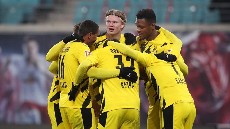 Le Borussia Dortmund s'est facilement imposé sur la pelouse du RB Leipzig (RONNY HARTMANN / POOL)