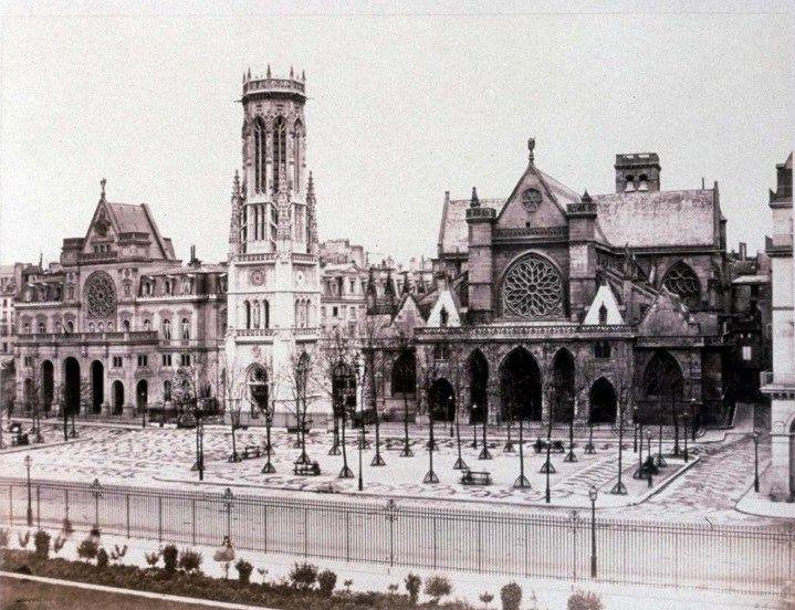 Edouard Baldus (1813-1889) - La Place St-Germain Lauxerrois (1852-58)  (Photosvintages / Photo12)