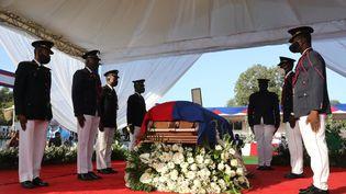 La dépouille de l'ancien président haïtien Jovenel Moïse, le 23 juillet 2021, à Cap-Haitien. (VALERIE BAERISWYL / AFP)