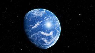 Vue d'artiste d'une potentielle exoplanète recouverte d'un océan. (MARK GARLICK / MGA / AFP)