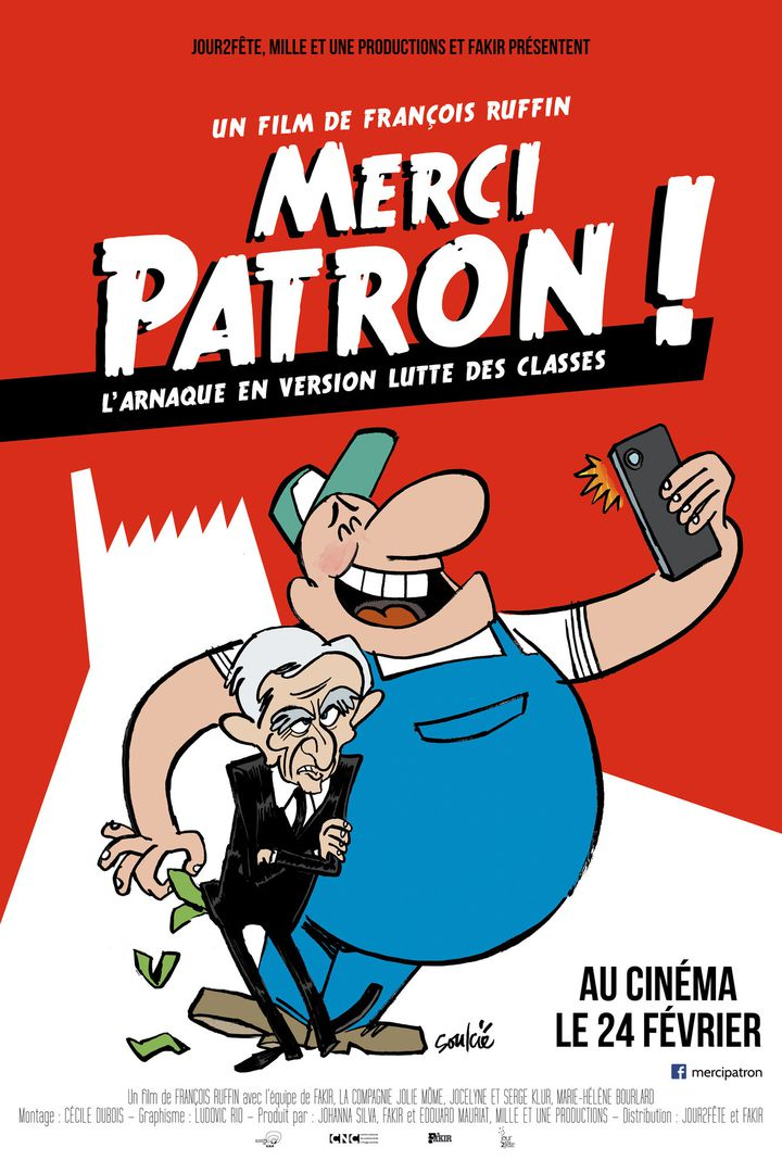 """Affiche du film """"Merci patron !"""" de François Ruffin  (JOUR2FETE / MILLE ET UNE PRODUCT / COLLECTION CHRISTOPHEL)"""