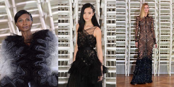 Trois pièces présentées au défilé haute couture d'Alexis Mabille : fourrure d'été d'organza piqué de plumes d'autruche; robe lingerie incrustée de dentelles, plissés d'organza et Chantilly noirs ; robe collante de Chantilly noire, rebrodée de pétales et cristaux.  (DIGITAL CATWALK/NURPHOTO ; MIGUEL MEDINA/AFP)