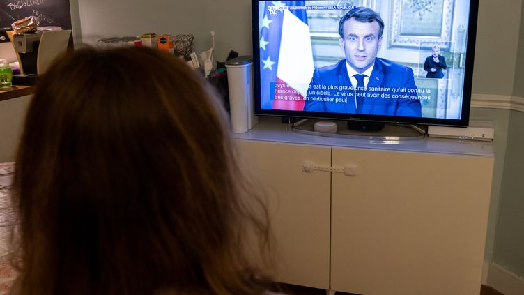 L'allocution d'Emmanuel Macron sur le coronavirus Covid-19, le 12 mars 2020. (RICCARDO MILANI / HANS LUCAS / AFP)