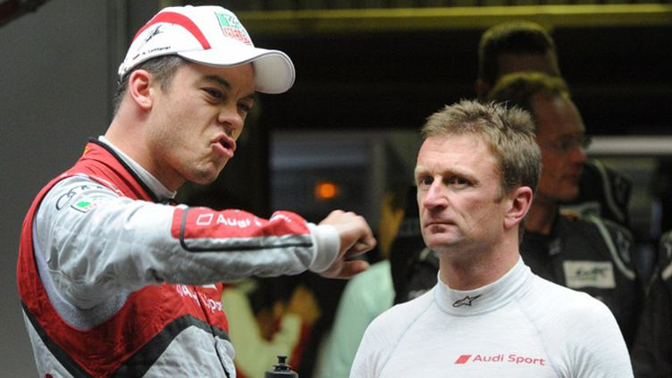 Les pilotes Audi Andre Lotterer et Allan McNish (JEAN FRANCOIS MONIER / AFP)