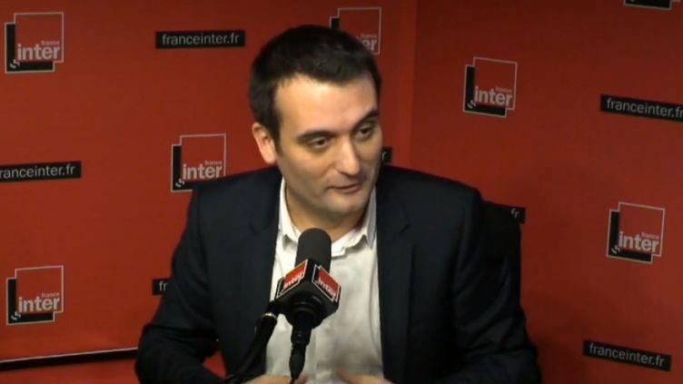 Le vice-président du FN Florian Philippot dans le studio de France Inter, lundi 15 décembre. (FRANCE INTER)