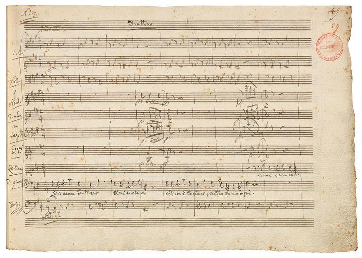 """Le fameux manuscrit du """"Don Giovanni"""" de Mozart, pièce iconique de la Bnf.  (Bibliothèque nationale de France)"""