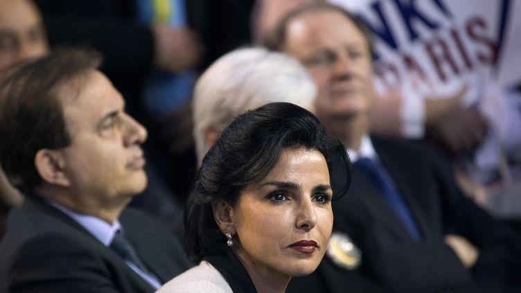 Rachida Dati, lors d'un meeting de NKM pendant la campagne pour la mairie de Paris, le 10 février 2014. (JOEL SAGET / AFP)